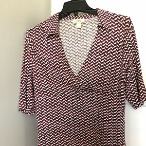 The Loft geometric  blouse size LG red & black